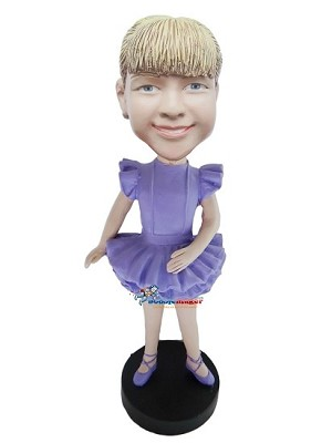 Girl In Purple Tutu bobblehead Doll