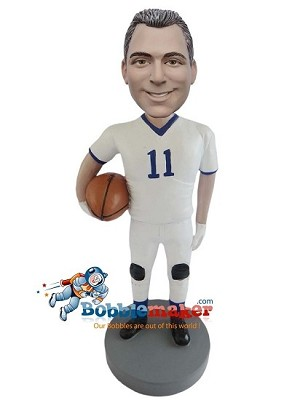 Man With Football And Uniform bobblehead Doll