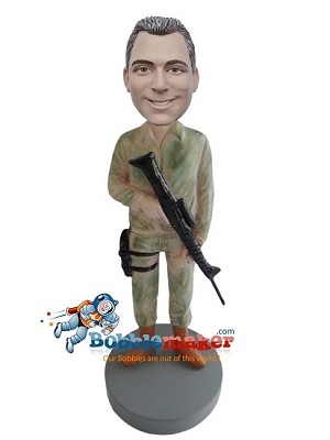 Soldier With Rifle bobblehead Doll