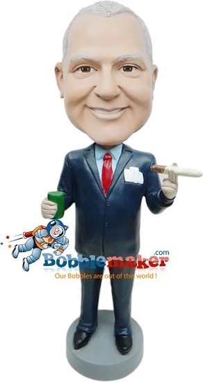 Cigar Smoking Executive bobblehead Doll