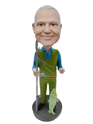 Custom Bobble Head | Fisherman In Green And Blue Bobblehead | Gift Ideas For Men