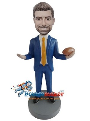 Businessman With Football bobblehead Doll
