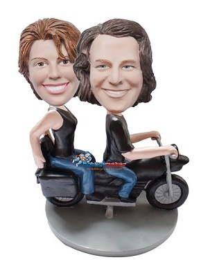 Custom Bobble Head | Couple On Motorcycle Bobblehead | Gifts for Couples