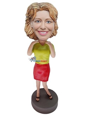 Custom Bobble Head | Green Shirt Professional Woman Bobblehead | Gift Ideas For Women