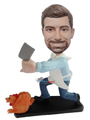 Chicken Butcher Man bobblehead Doll
