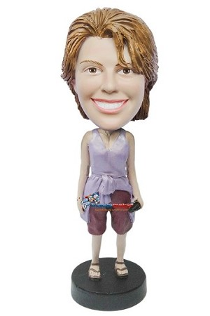 Rolled Up Shirt Female bobblehead Doll