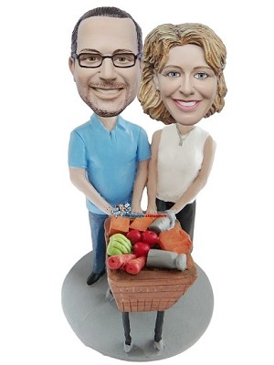 Custom Bobble Head | Couple Shopping For Groceries Bobblehead | Gifts for Couples