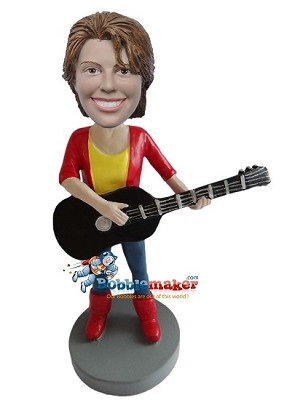 Woman With Acoustic Guitar bobblehead Doll