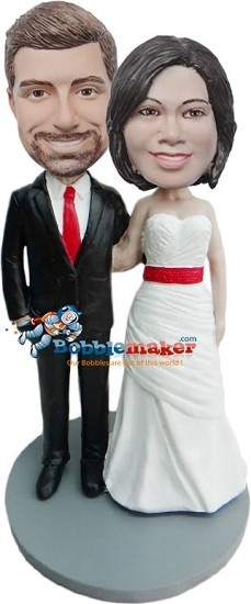 Arms Around Each Other Wedding Couple bobblehead Doll