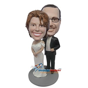 Groom Behind Wife bobblehead Doll