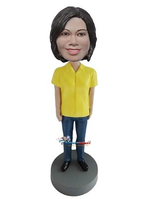 Yellow Shirt Casual Female bobblehead Doll