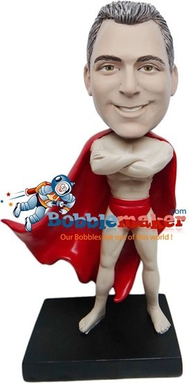 Custom Bobble Head | Superhero With Cape Male Bobblehead | Gift For Men