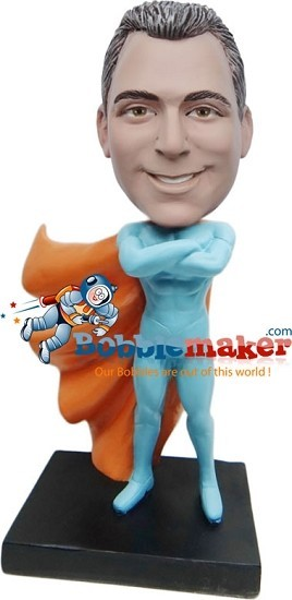 Custom Bobble Head | Blue And Orange Superhero Man Bobblehead | Gift For Men
