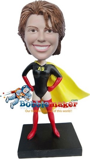 Custom Bobble Head | Black Yellow And Red Superhero Woman Bobblehead | Gift Ideas For Women