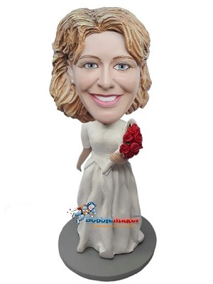 Bride With Nice Bouquet Of Roses bobblehead Doll