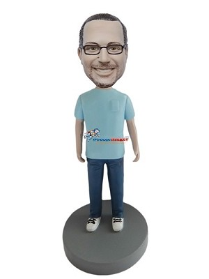 Blue T-Shirt Casual Male bobblehead Doll