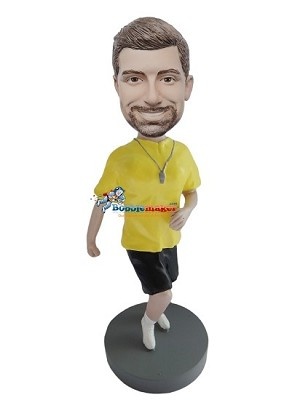 Running Man With Dog Tags bobblehead Doll
