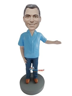 Blue Shirt Casual Male With Arm Out bobblehead Doll