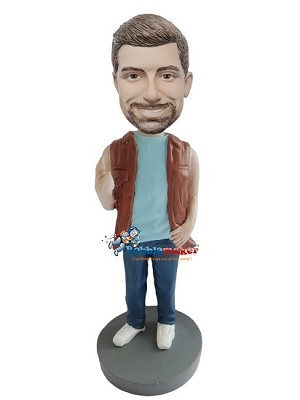 Casual Male In Brown Vest bobblehead Doll