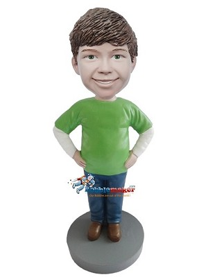 Casual Boy In Green T-Shirt bobblehead Doll