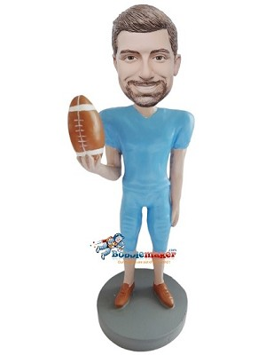Custom Bobble Head | Football Player In Blue Uniform Bobblehead | Gift For Men