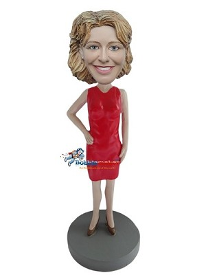 Red Dress Businesswoman bobblehead Doll