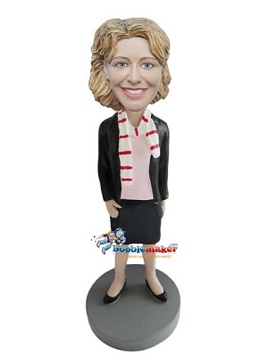Executive Female With Scarf bobblehead Doll