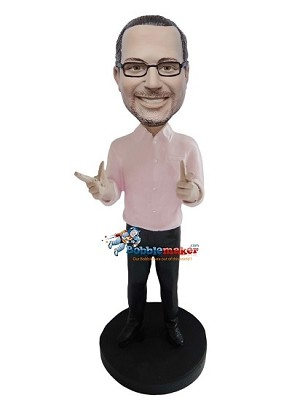Finger Guns Casual Male bobblehead Doll