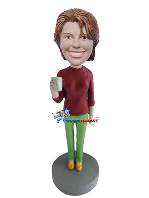 Female Holding Coffee Cup bobblehead Doll