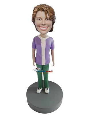 Custom Bobble Head | Green Pants Casual Female Bobblehead | Gift Ideas For Women