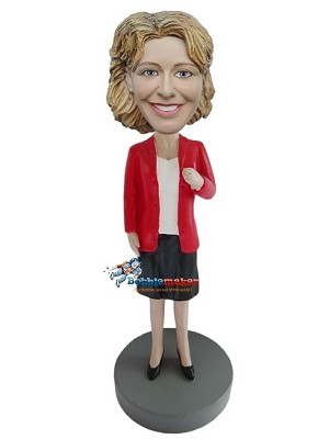 Red Blazer Office Woman bobblehead Doll