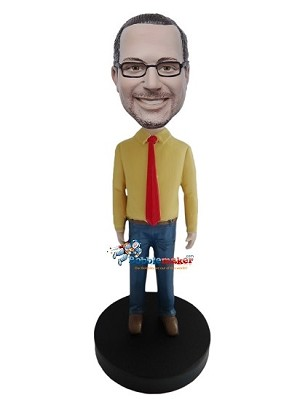 Custom Bobble Head | Yellow Shirt And Tie Male Bobblehead | Gift For Men