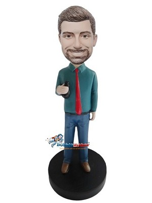 Man With Beer And Tie bobblehead Doll