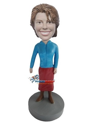 Office Woman In Blue Shirt bobblehead Doll