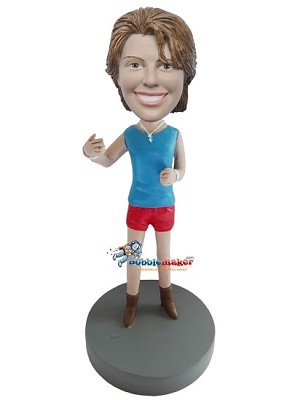 Blue Tank Top Casual Woman bobblehead Doll