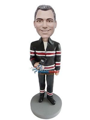 Stripes Man With Phone bobblehead Doll