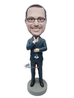 Custom Bobble Head | Executive Male Adjusting Tie Bobblehead | Gift Ideas For Men