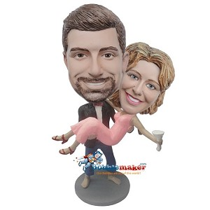 Custom Bobble Head | Man Holds Woman With Martini Glass Bobblehead | Gift Ideas For Wedding