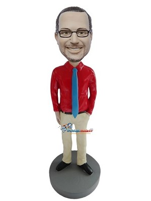 Executive In Red Shirt bobblehead Doll