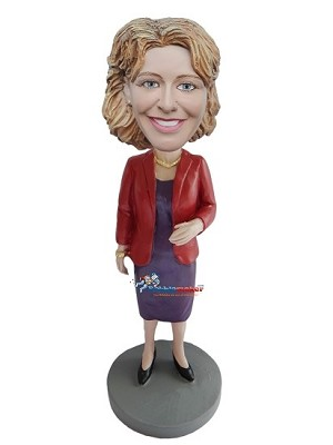 Red Blazer And Dress Female bobblehead Doll