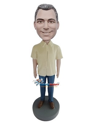 Custom Bobble Head | Yellow Short Sleeves Shirt Male Bobblehead | Gift For Men