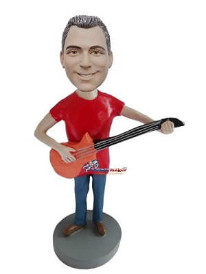 Man With Orange Bass Guitar bobblehead Doll