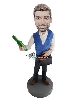 Custom Bobble Head | Man With Bottle And Briefcase Bobblehead | Gift For Men
