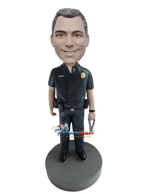 Custom Bobble Head | Male Police Officer Holding Keys Bobblehead | Gift Ideas For Men