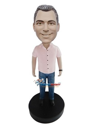 Pink Shirt Casual Male bobblehead Doll