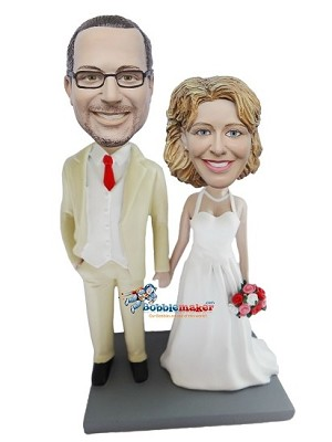 Custom Bobble Head | Holding Hands Bride And Groom Bobblehead | Gift Ideas For Wedding
