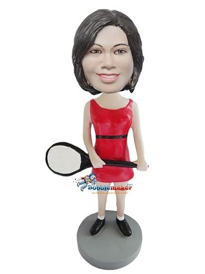 Custom Bobble Head | Red Dress Female Tennis Player Bobblehead | Gift Ideas For Women