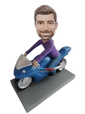 Custom Bobble Head | Man On Japanese Motorcycle Bobblehead | Gift Ideas For Men