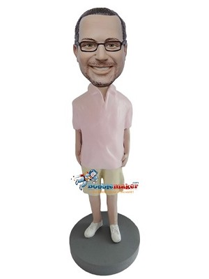 Pink Polo Shirt Casual Male bobblehead Doll
