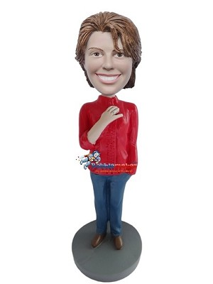Custom Bobble Head | Red Turtleneck Casual Woman Bobblehead | Gift Ideas For Women